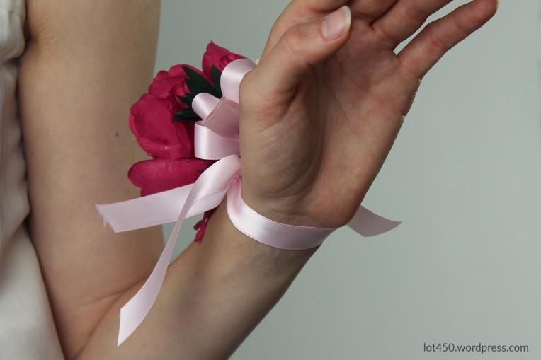 pink silk wrist corsage