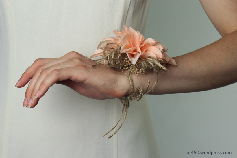 rustic wrist corsage with twine