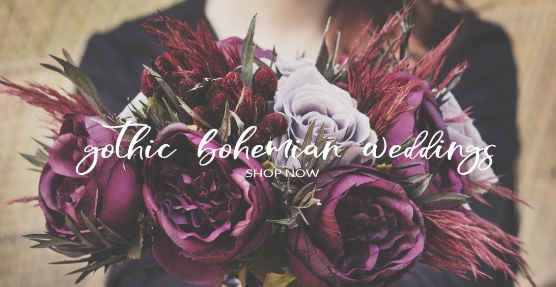 Gothic Bohemian Silk Wedding Bouquet