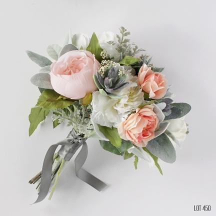 Peachy Pink Silk Flower Bride Bouquet