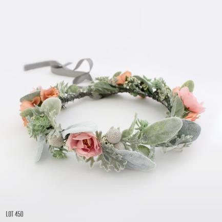 Pink and Peach Silk Flower Crown