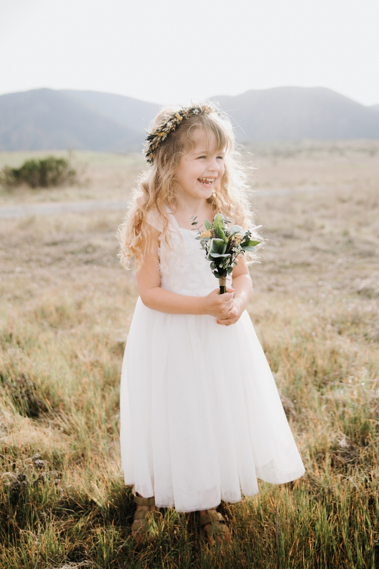 Flower Girl with Dried Bouquet and Crown