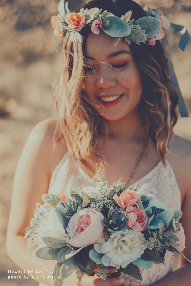 Silk Flower Bridal Bouquet and Flower Crown